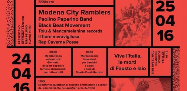 Festival delle culture antifasciste e antirazziste – Partigiani in Ogni Quartiere – 23/25 aprile 2016 – Parco di Trenno – MM1 Bonola – Milano Programma: Sabato 23 Ore 15: Incontro: […]